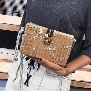 Handbags - NEW   Straw Woven Lace Flower Embroidery Flap Bag